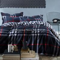 hot selling promotion 100% cotton 4pcs queen/king duvet/comforter covers mordern lattice stripe pattern printed bedding sets