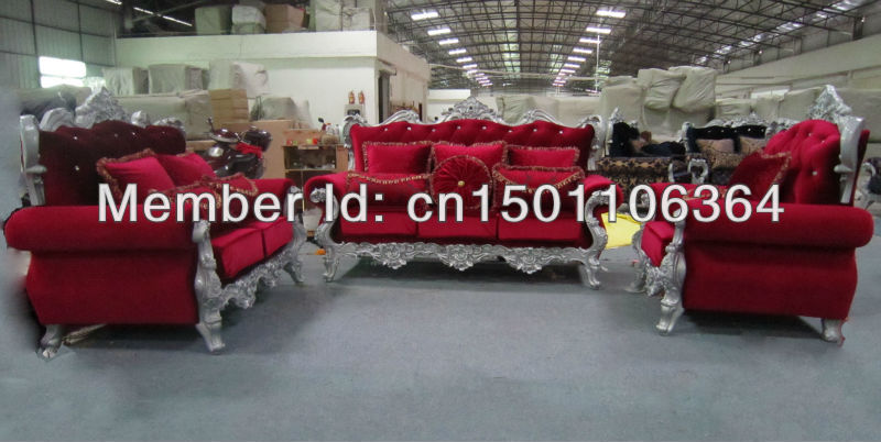 European style fabric sectional sofa red(China (Mainland))