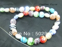 wholesale free shipping 12mm*8mm  glass lampwork coin loose beads 40strands/lot