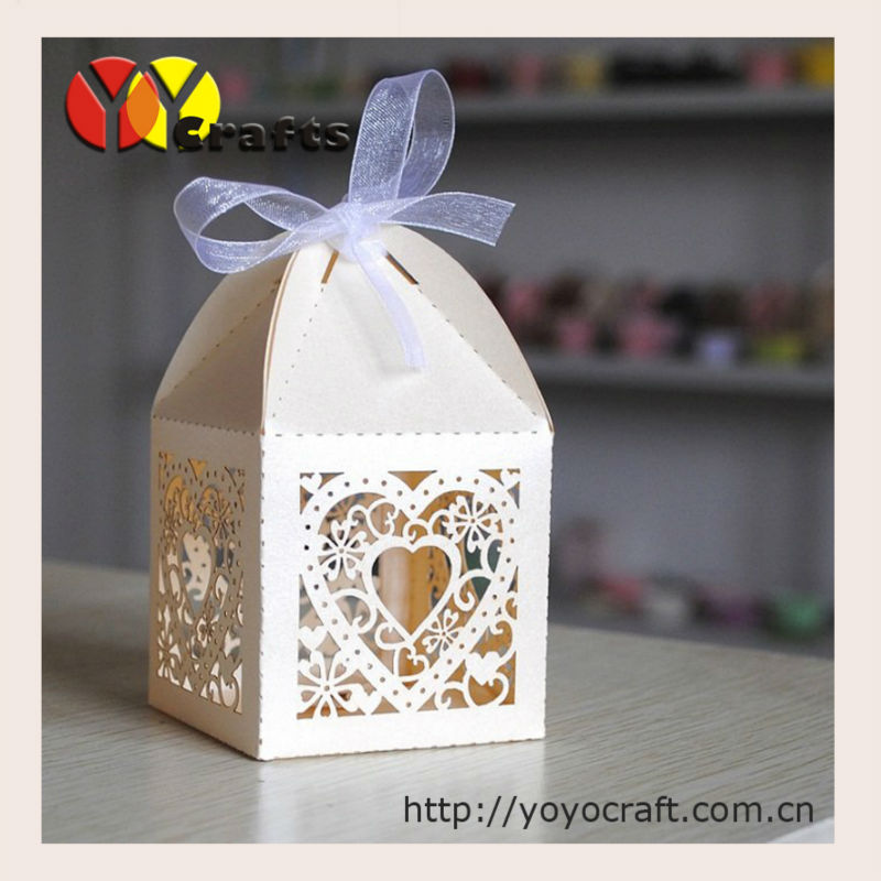 hot sell laser cut custom free logo paper individual wedding heart shape favor boxes(China (Mainland))