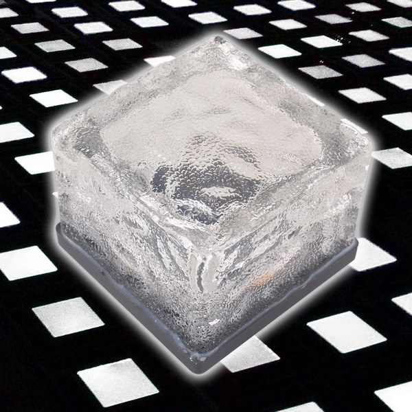 Free Shipping Solar Powered Crystal Ice Brick Ground Buried Light Garden Path Lamp White(China (Mainland))
