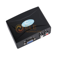 Free shipping VGA R/L Audio to HDTV HDMI 1080p AV Converter Adapter Black Color
