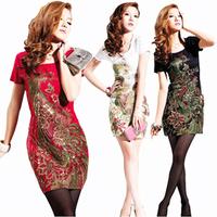 Red/Black/White M,L,XL,XXL,3XL,4XL,5XL Phoenix Embroidery Slim plus size dress Women Summer Spring Elegant Vintage 2013 dress