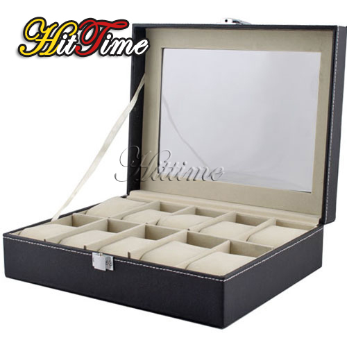 Leather 10 Slots Wrist Watch Display Box Storage Holder Organizer Windowed Case [9651|01|01](China (Mainland))