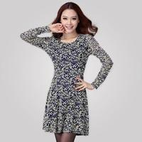Free Shipping Women   Korean 2014 Long Sleeve slim lace dress, Autumn Winter Fashion Dresses Maxi SizeXL XXL XXXL XXXXL