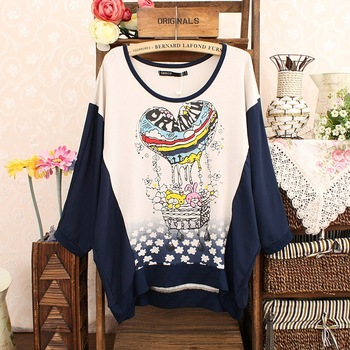 2013 spring and summer hot balloon sweet love print chiffon patchwork batwing sleeve color block t-shirt irregular t