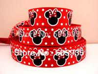 50Y2796 david ribbon 7/8 '' mickey minnie red grosgrain ribbon hairbows printed ribbon freeshipping