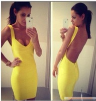 Free shipping 2013 Sexy backless bandage Celebrity dress Party  Dresses yellow & black&blue&red HL536