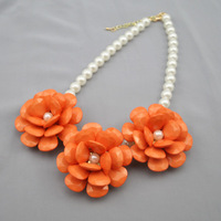 Han edition retro pearl flower resin necklace chain. Europe and the United States foreign trade big petals clavicle