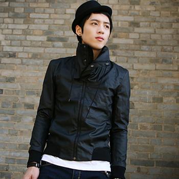 Card spring men's unique turtleneck slim coat jacket male casual outerwear