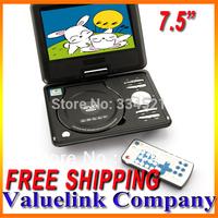 "7.5"" TFT Portable DVD EVD CD Player mp0212 With TV Swivel Screen, CardReader, Radio & Games, Region Free, Copy Free Ship MP0212"