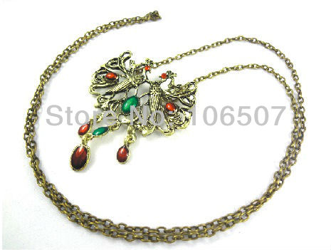 wholesale free shipping 10pcs classic double Chinese phoenix necklace characteristic choker necklace sweater chain new hot sell(China (Mainland))