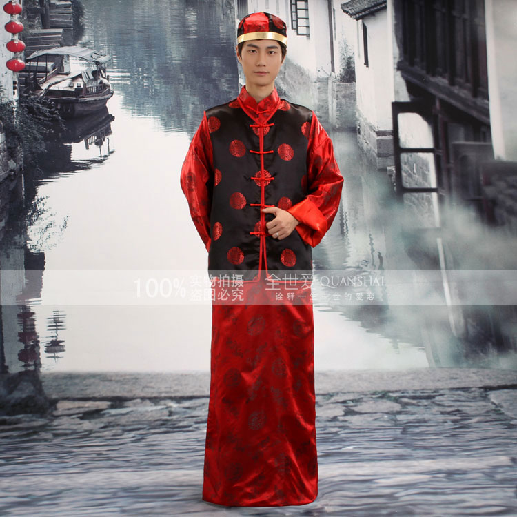 Groom show clothes chinese style pratensis tang suit long robe costume evening dress costume(China (Mainland))