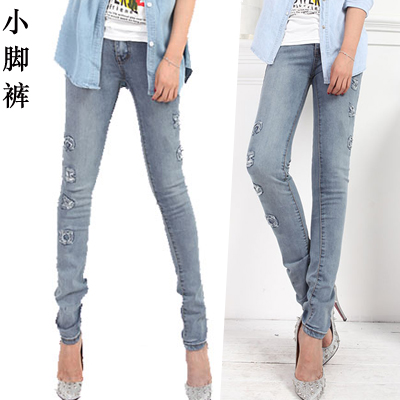 Hot-selling 100% cotton thin 2013 female trousers personalized letter jeans(China (Mainland))