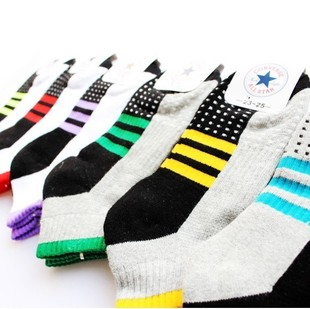 10 socks multicolour socks dot stripe sports sock slippers sweat absorbing 100% cotton sock(China (Mainland))