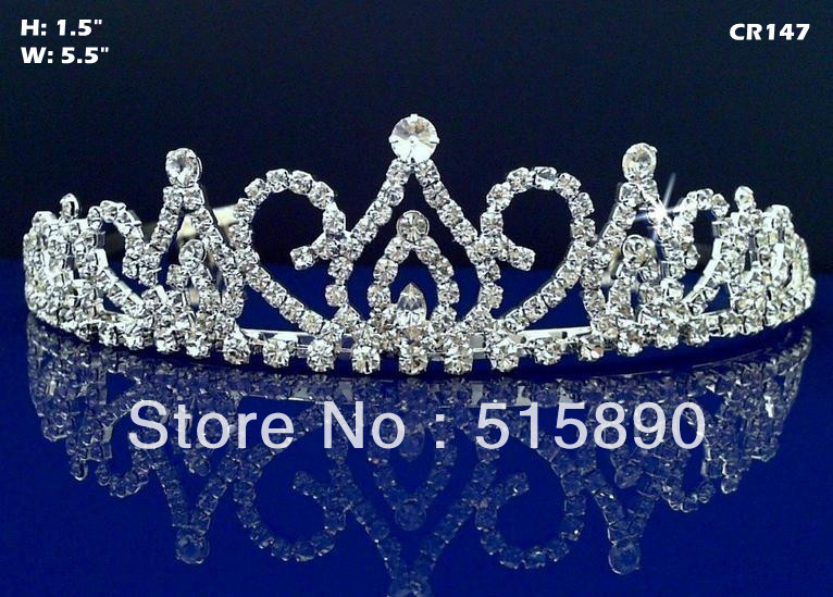 Free Shipping Clear Crystal Floral Girl Princess Crown Pageant Tiara CR147(China (Mainland))