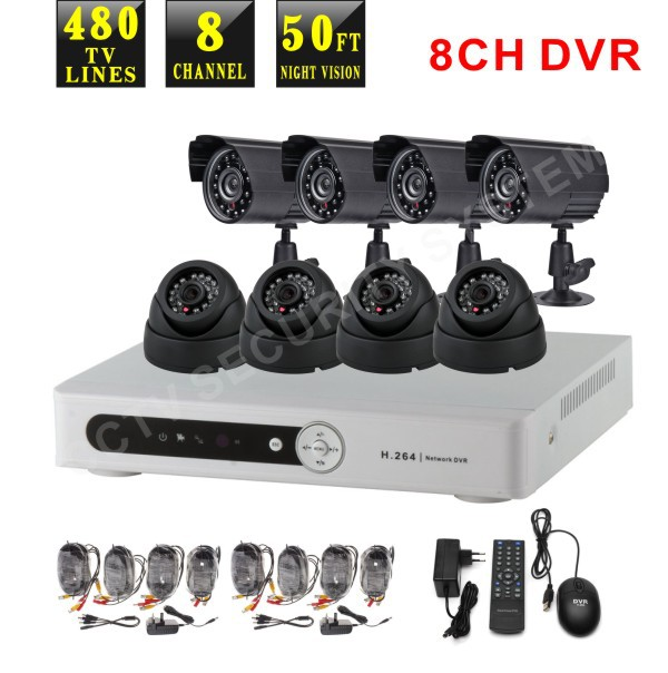 8 Channel CCTV Recorder DVR Digital Video Recorder surveillance with monitor security 8 camera system(China (Mainland))