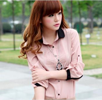 Factory direct 2013 spring new  long-sleeved chiffon shirt doll collar blouse chiffon shirt,Free Shipping!