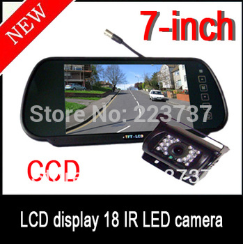 "new 7 ""LCD Monitor + CCD HD Reverse Camera Car Rear View Kit Free shipping"