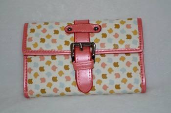 Rabbit women's vintage short design zipper buckle color block three fold wallet