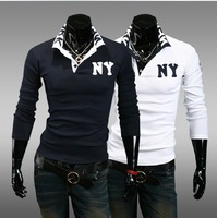2013 Free Shipping spirng new men Fashion shirts men's casual long-sleeved polo shirt POLOS men white blue XXL