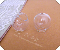 Free shipping! 100pcs/lot 20mm(12mm opening) glass bubble with hole on top/ DIY Glass globe vial pendant/DIY decorations