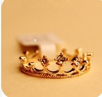 Free Shipping Fashion Cheap Jewelry Elegant Shining Rhinestone Crown Ring Finger Ring For Women Fashion Jewelry Accessory Female