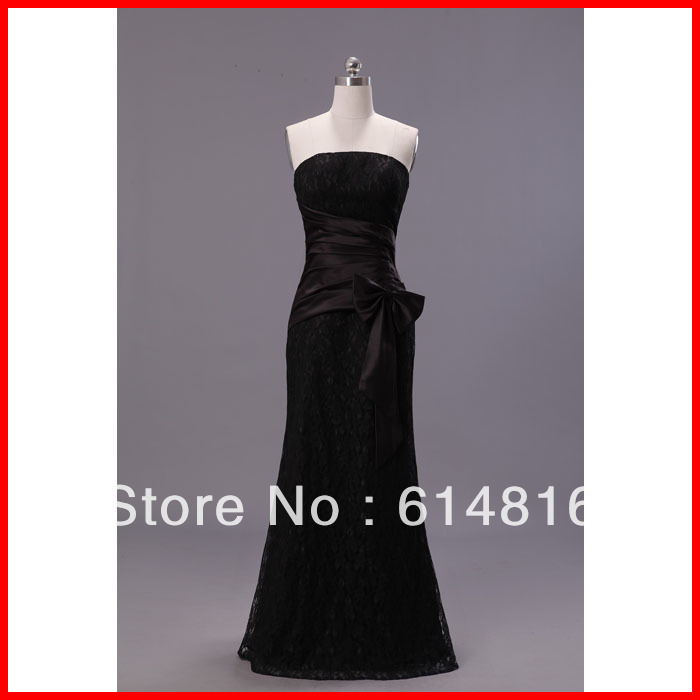 black floor length chapel train strapless neckline formal evening dresses party dresses(China (Mainland))