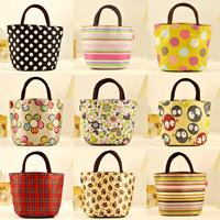 Small canvas women's handbag lunch bag portable small lunch box stripe handbag oxford fabric women's handbag
