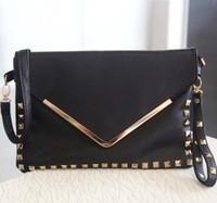 new 2013 women's handbag fashion vintage rivet envelope bag day clutch shoulder women leather handbags