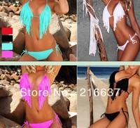 Free shipping 2013 fashion women lace up swimsuit with tassel ladies charming bikini set many colors choice one size