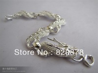 Wholesale Tibet tibetan miao silver hand carved Men `s white dragon bracelet fashion jewelry