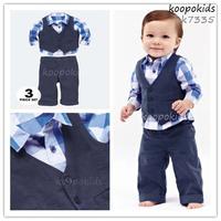 New arrival 3 - piece suits boy Plaid suit  vest +shirt + pants fashion suits for children wholesale free shipping