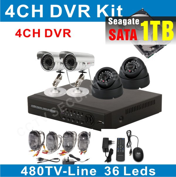 security camera with monitor CCTV System Camera Digital Video Recorder DVR 1TB HDD installed(China (Mainland))