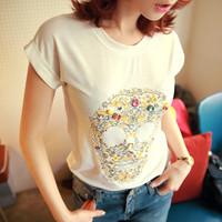 Clothing women's summer 2013 basic shirt top embroidered rhinestones casual female t-shirt short-sleeve