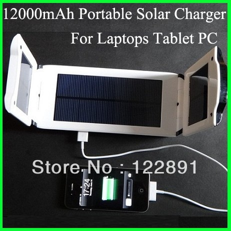 12000mAh Portable Solar Changer for Laptops& Mobile Phone Charger Solar notebook laptop charger Output 5.5-24V Free Shipping(China (Mainland))