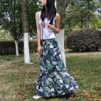 2013 spring bohemia bust skirt linen skirt expansion skirt half-length skirt long green jungle