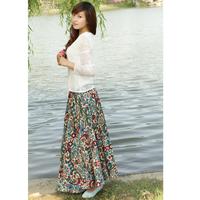 Bohemia bust skirt linen skirt half-length skirt long cashew flowers women's