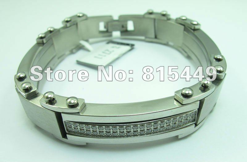 2013 New 316L stainless steel fashion jewelry Mens Watch strap CNC Stone Electroplate Black Bracelets 10 pieces free shipping(China (Mainland))