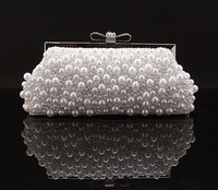 Free shipping 2013 New Arrival Pearls Look Rhinestone Crystal Lock Bead Clutch Bag Evening Bag Party Bag Black White Beige