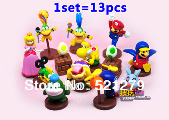 Free shipping Super Mario Bros PVC Figure Collectors Set of 13 Super mario Figures Action figure Collection for X-mas