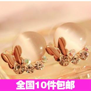 Aq0190 accessories fashion butterfly rhinestone cat-eye earring stud earring