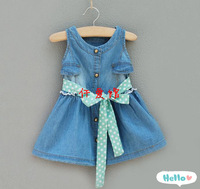Wholesale - Summer Children dress Europe and America purity kids denim girls cowboy dresses