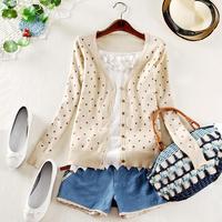 Free Shipping Spring&Autumn Printed long sleeve Love sweater cardigan Korean Design Women sweet Knitwear Outerwer