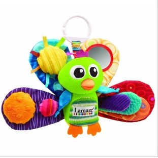 New Lamaze Peacock Lion Bed Hang Car Hang Baby Education Toys Designs Dolls 3pcs/Lot Fast ShangHai Free Shipping F12879(China (Mainland))