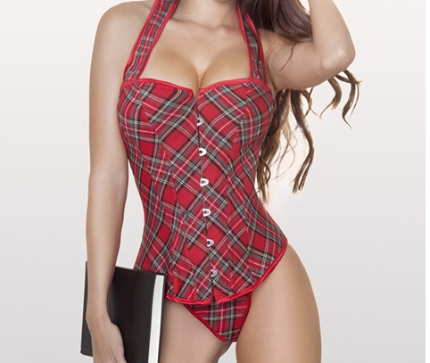 New arrival ,sexy Red grid boned with strap lace up corset bustier body shaper dropship S-2XL(China (Mainland))