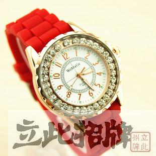 Womage silica gel jelly diamond fashion watch quartz watch unisex watch(China (Mainland))