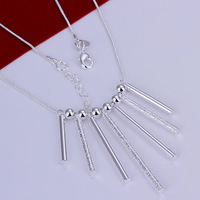 GSSPN094/ silver severn pillars necklace,fashion jewelry,wholesale,Nickle free antiallergic ,factory price