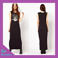 2014 New Arrival Summer Women Maxi Dress European Style Slim Sleeveless Lovely Cat Head Brief Dress Cotton Black Solid Wholesale