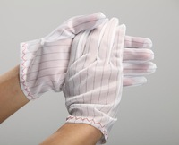 Free shipping Anti-static stripe hand / dust-free anti-static gloves  wihte  L size